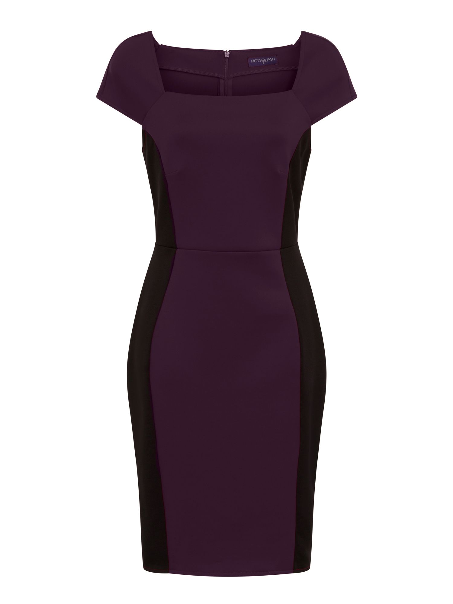 HotSquash Square Necked Ponte Dress in Clever, Damson