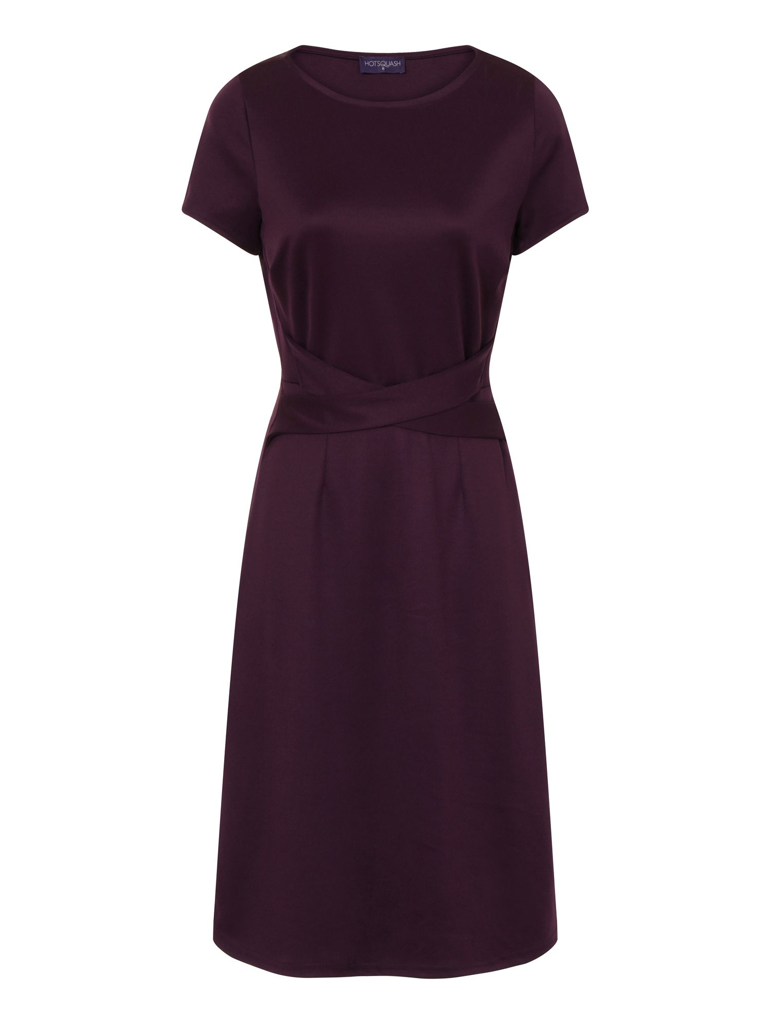 HotSquash Midi Office Ponte Dress in Clever Fabric, Damson