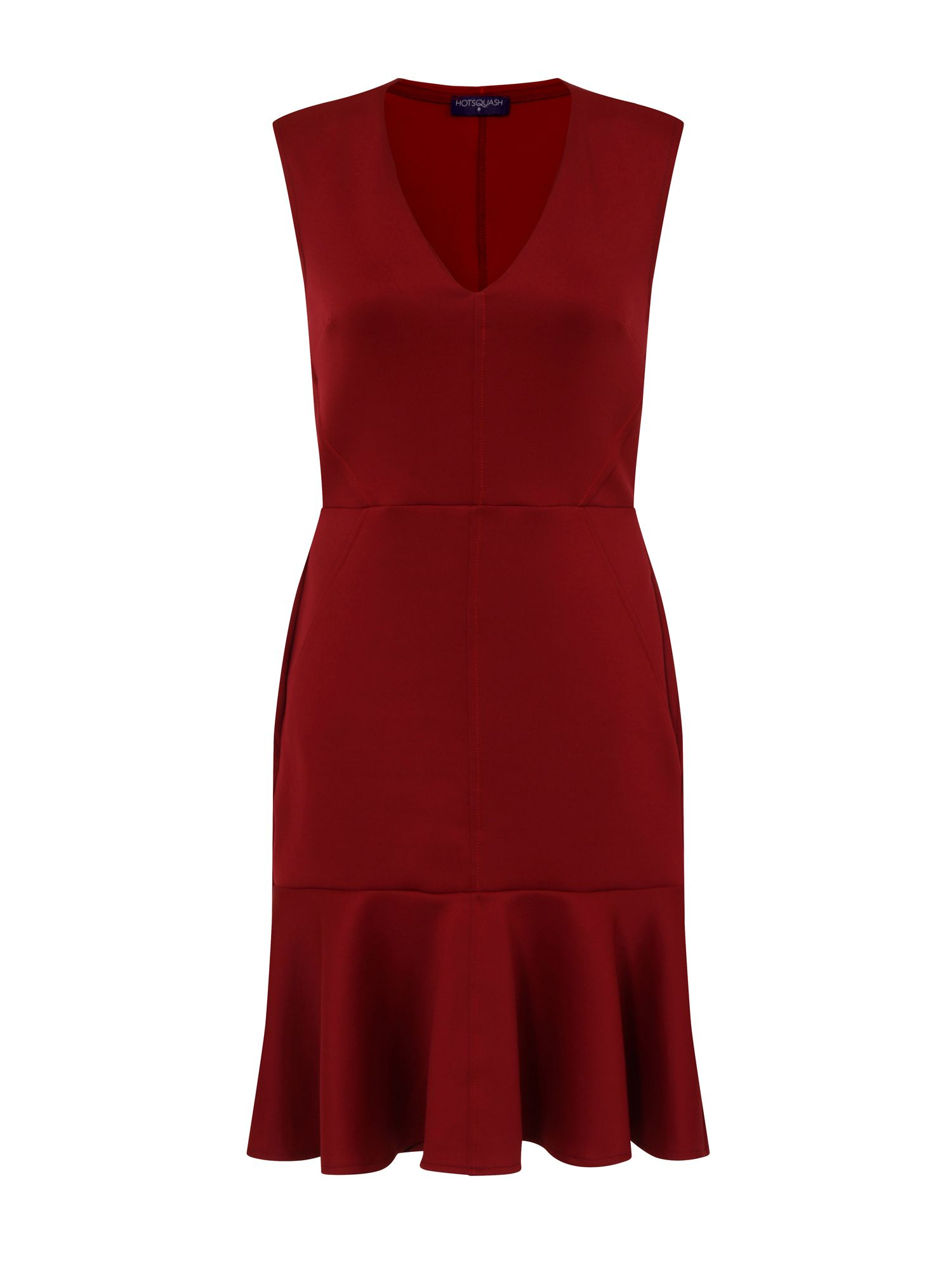 HotSquash Drop Waist Ponte Dress in Clever Fabric, Red