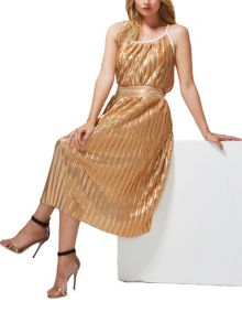 HotSquash Clever-Lined Metallic Pleated Midi Skirt
