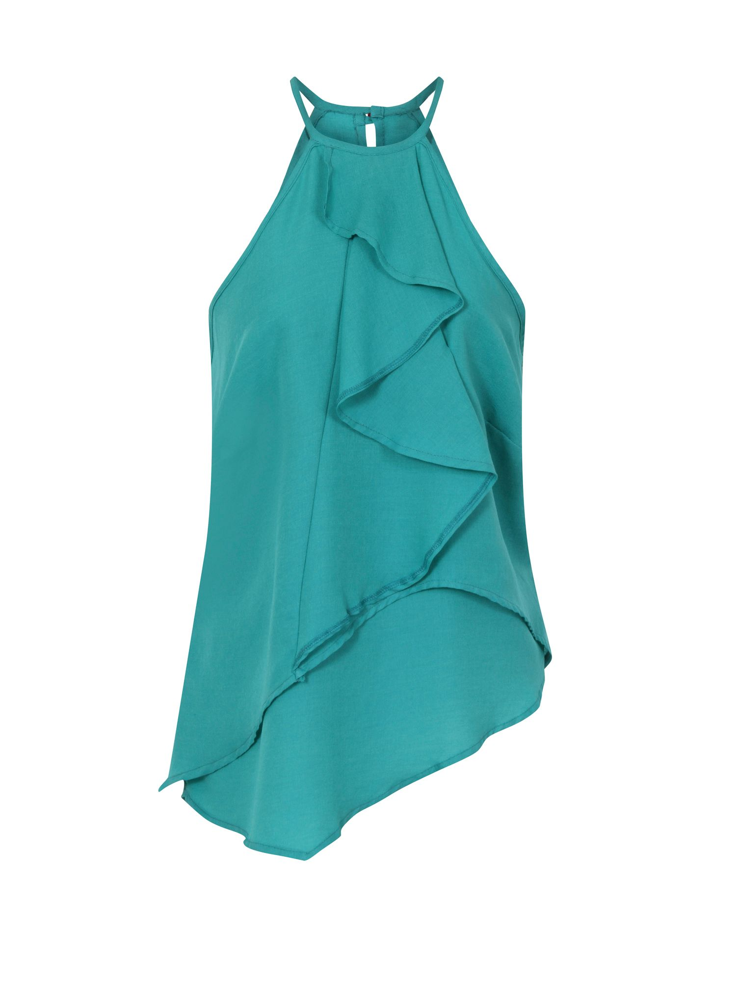 HotSquash Ruffle Halter Neck Top in Clever Fabric, Turquoise