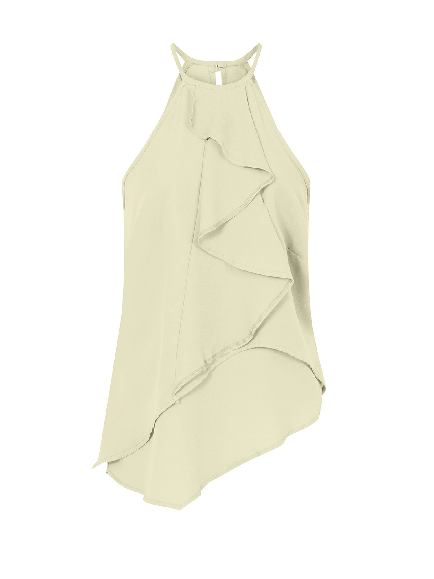 HotSquash Ruffle Halter Neck Top in Clever Fabric, Cream