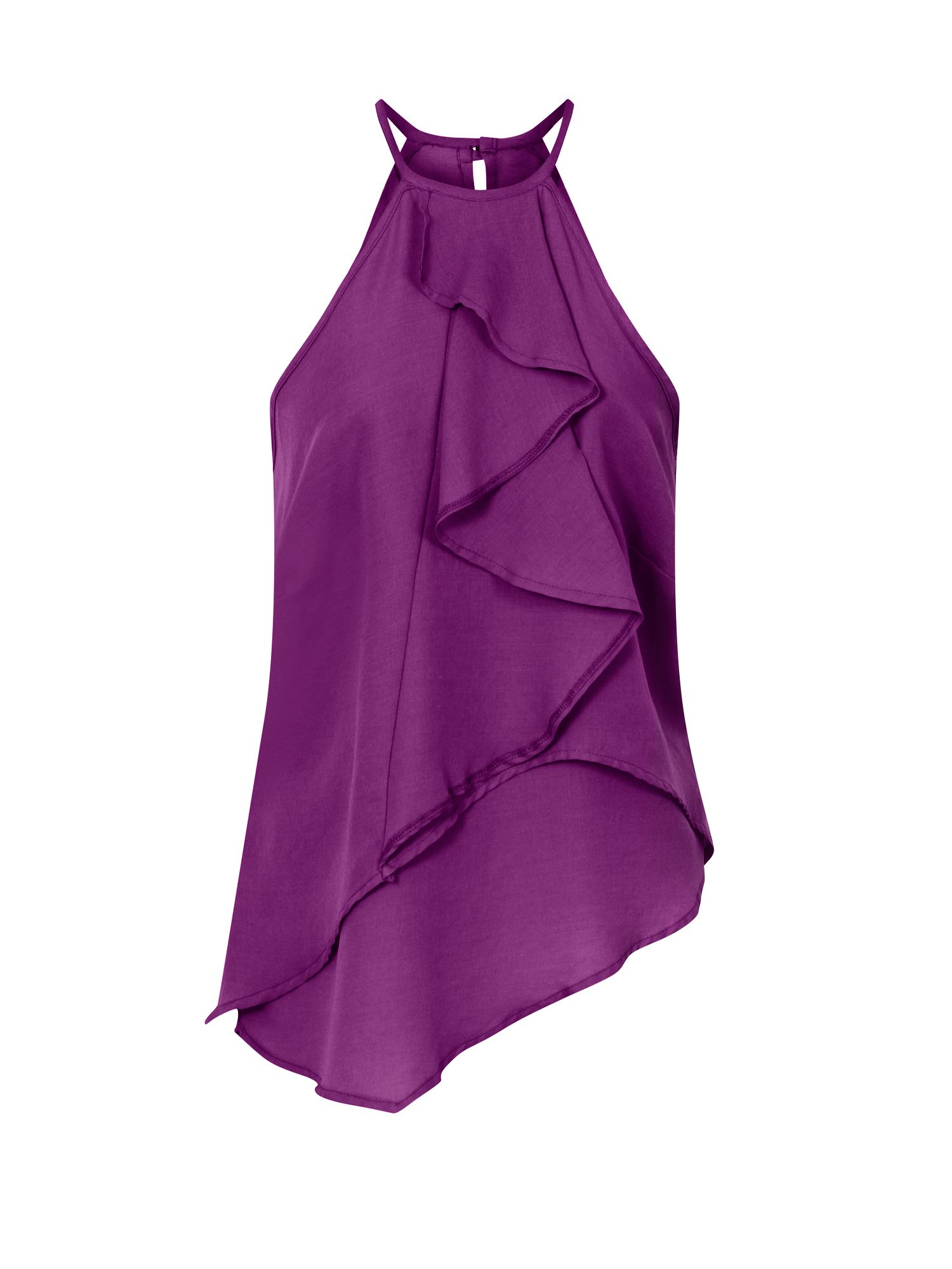 HotSquash Ruffle Halter Neck Top in Clever Fabric, Purple