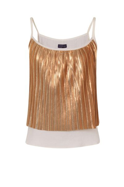 HotSquash Clever-Lined Metallic Pleat Cami Top
