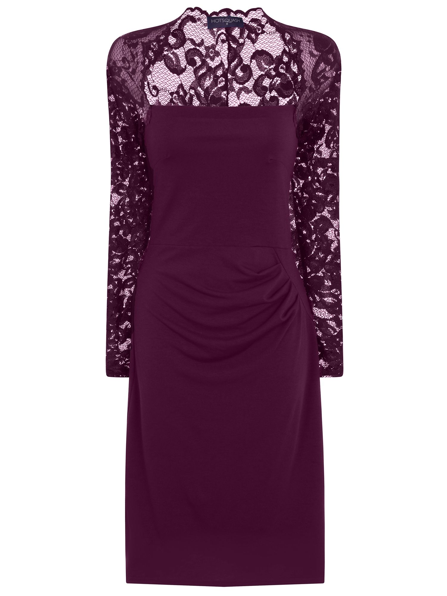 HotSquash Lace Sleeved Dress In Clever Fabric, Damson