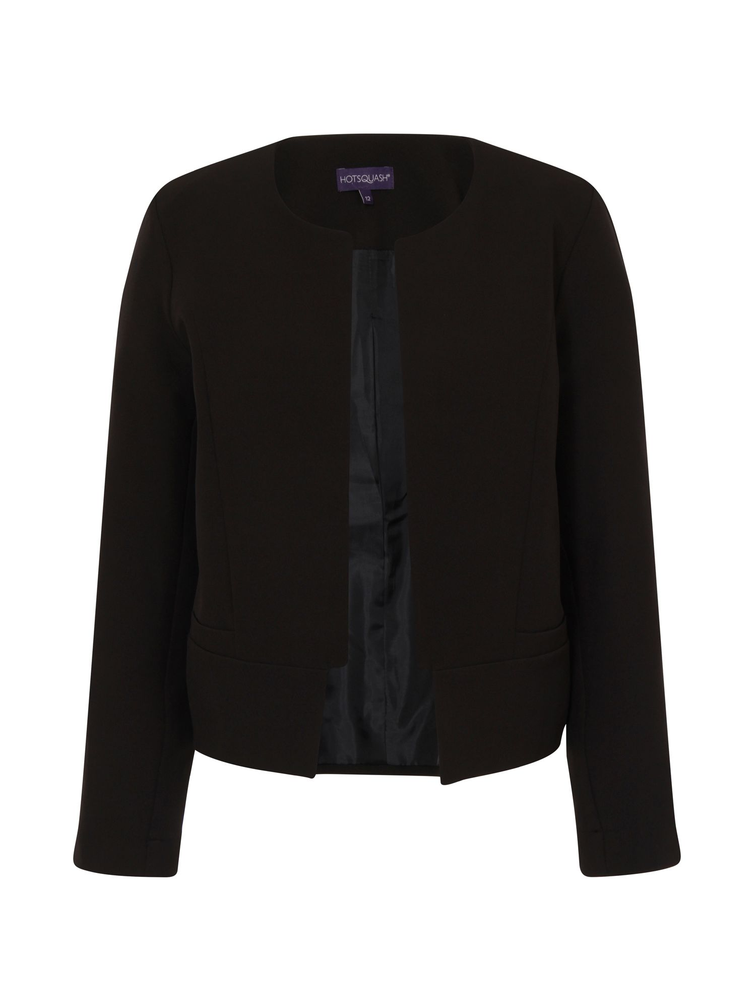 HotSquash Collarless Jacket in Clever Fabric, Black