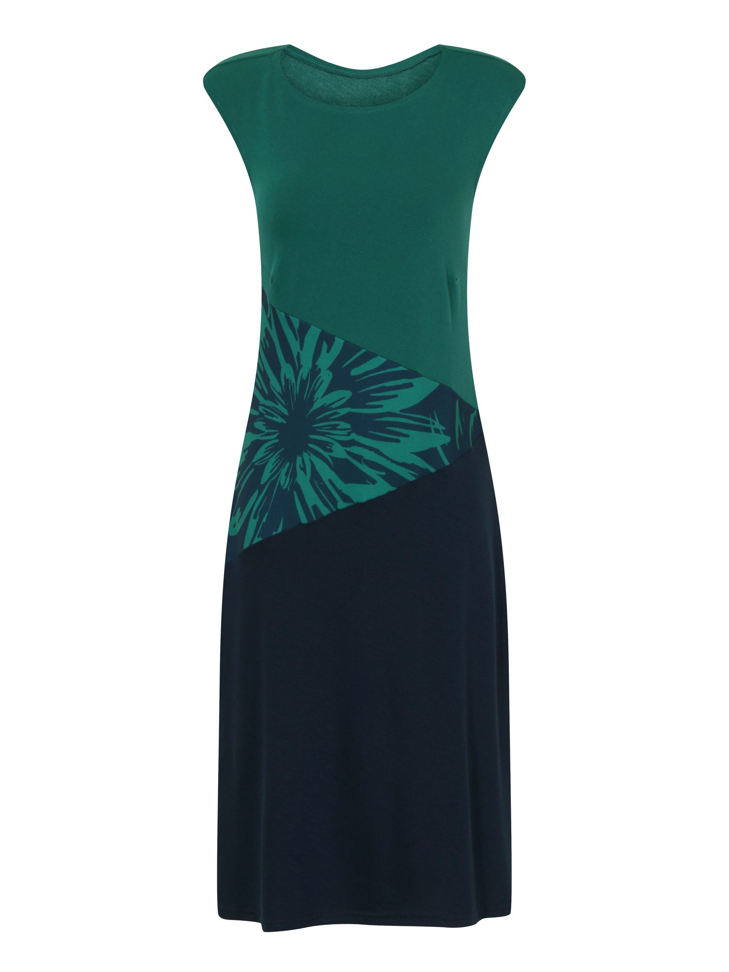 HotSquash Floral Waist Dress in Clever Fabric, Green