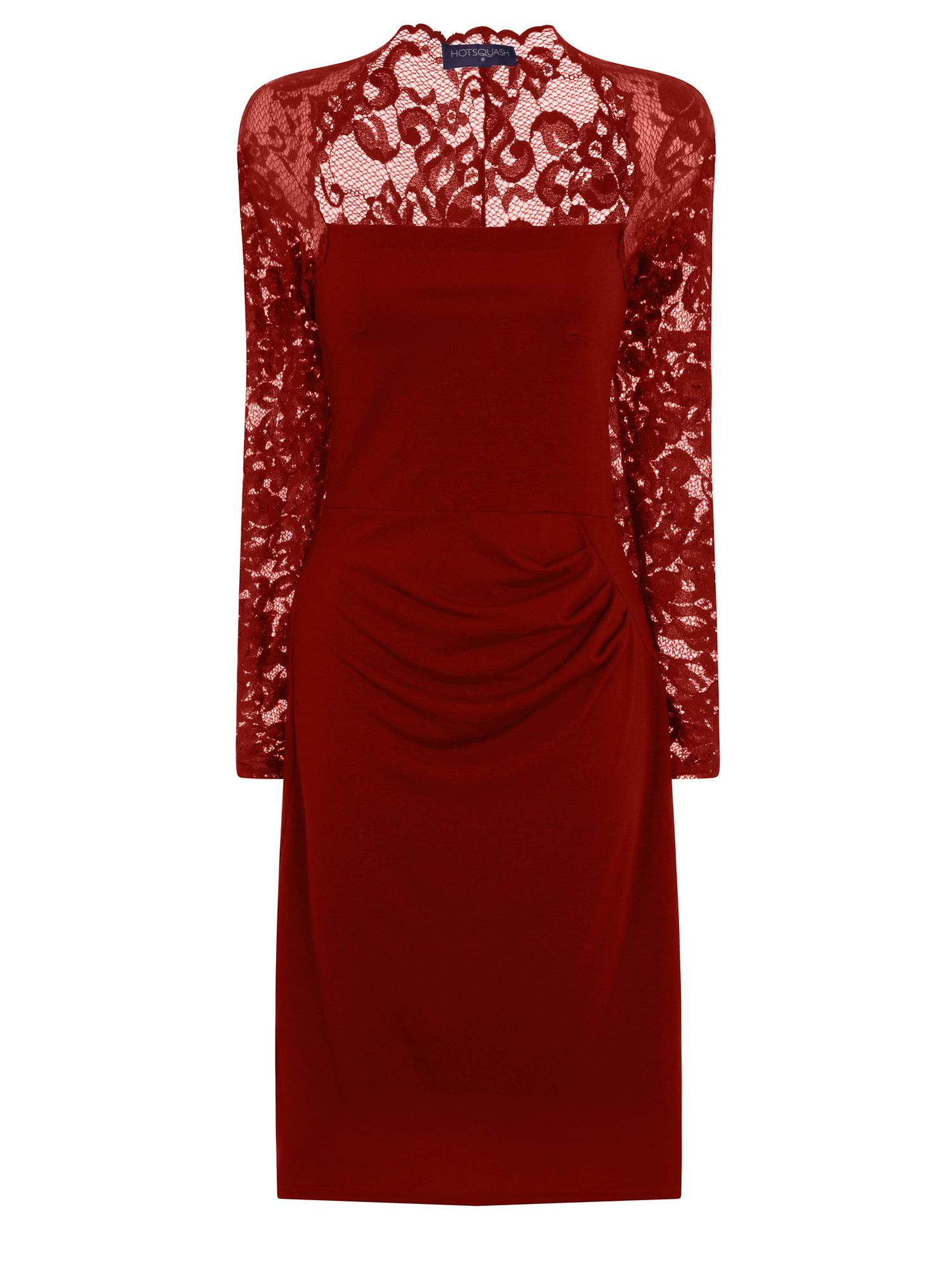HotSquash Lace Sleeved Dress In Clever Fabric, Red
