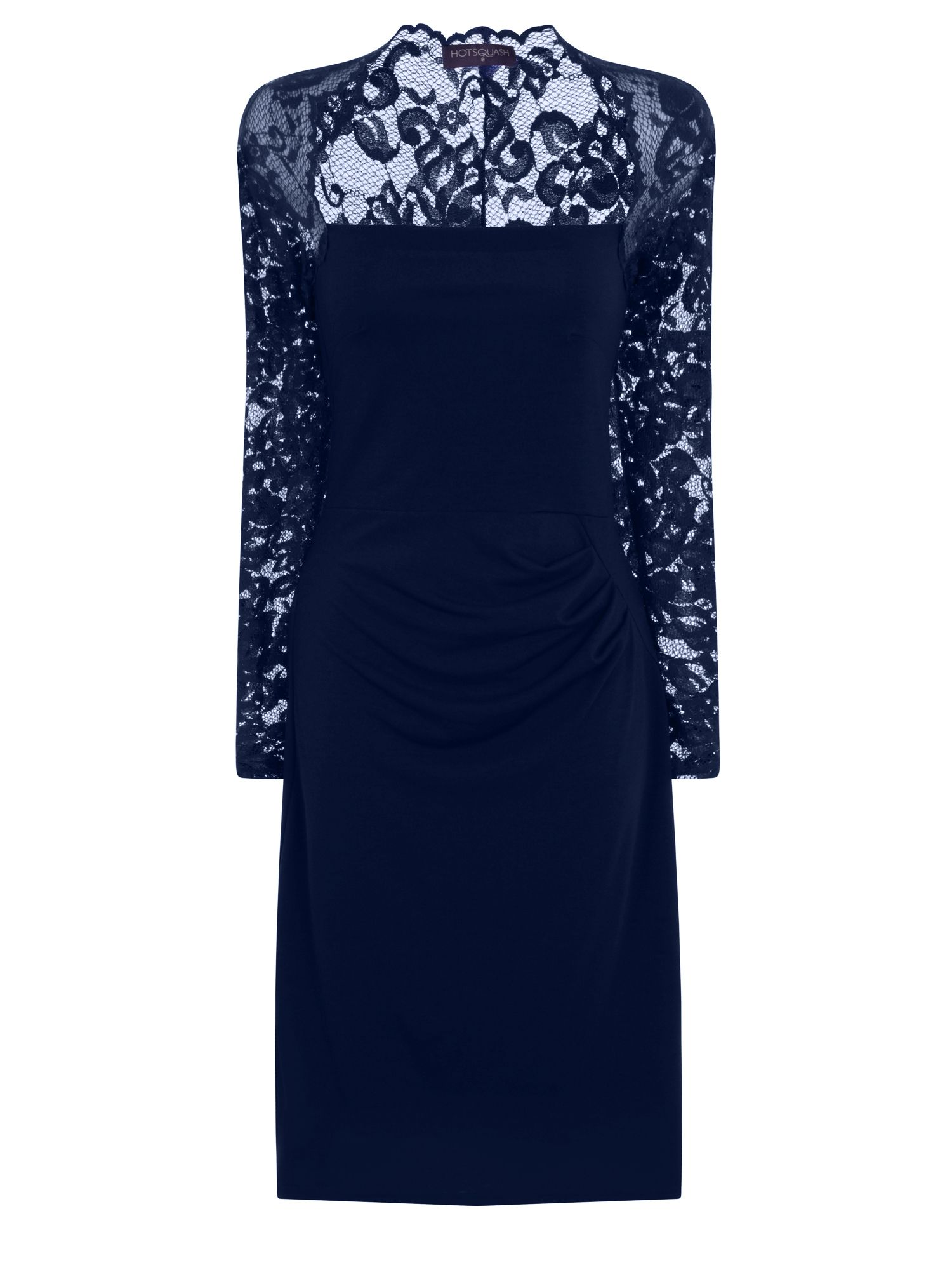 HotSquash Lace Sleeved Dress In Clever Fabric, Blue