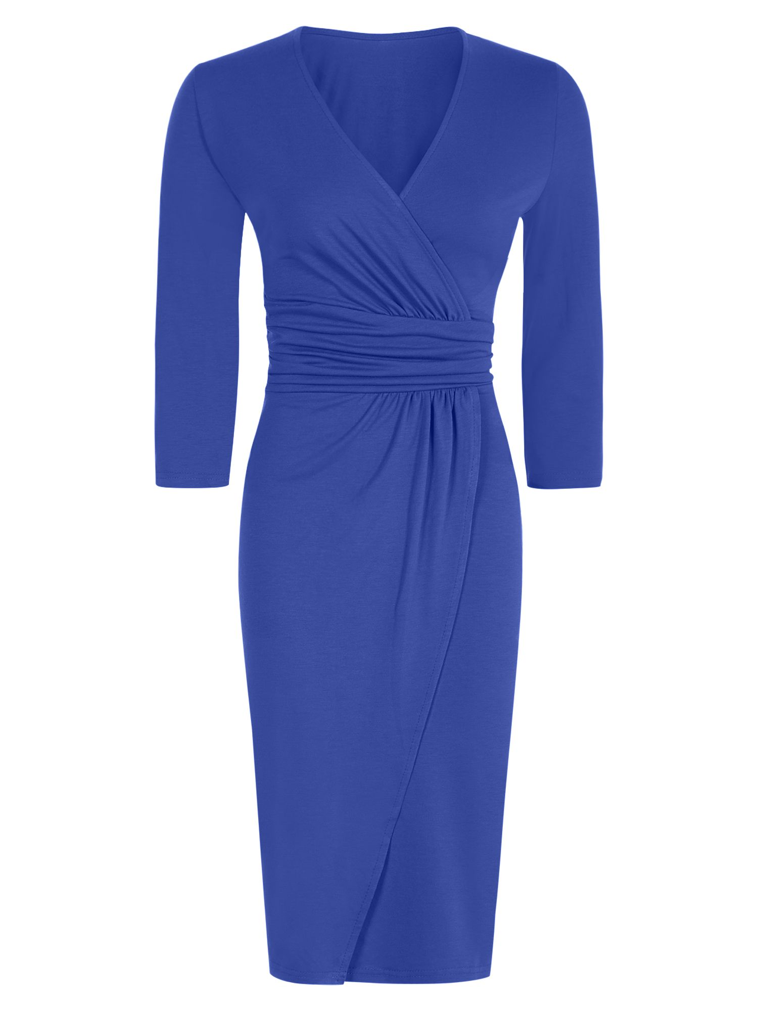 HotSquash V neck Mock Wrap Thermal Dress, Blue