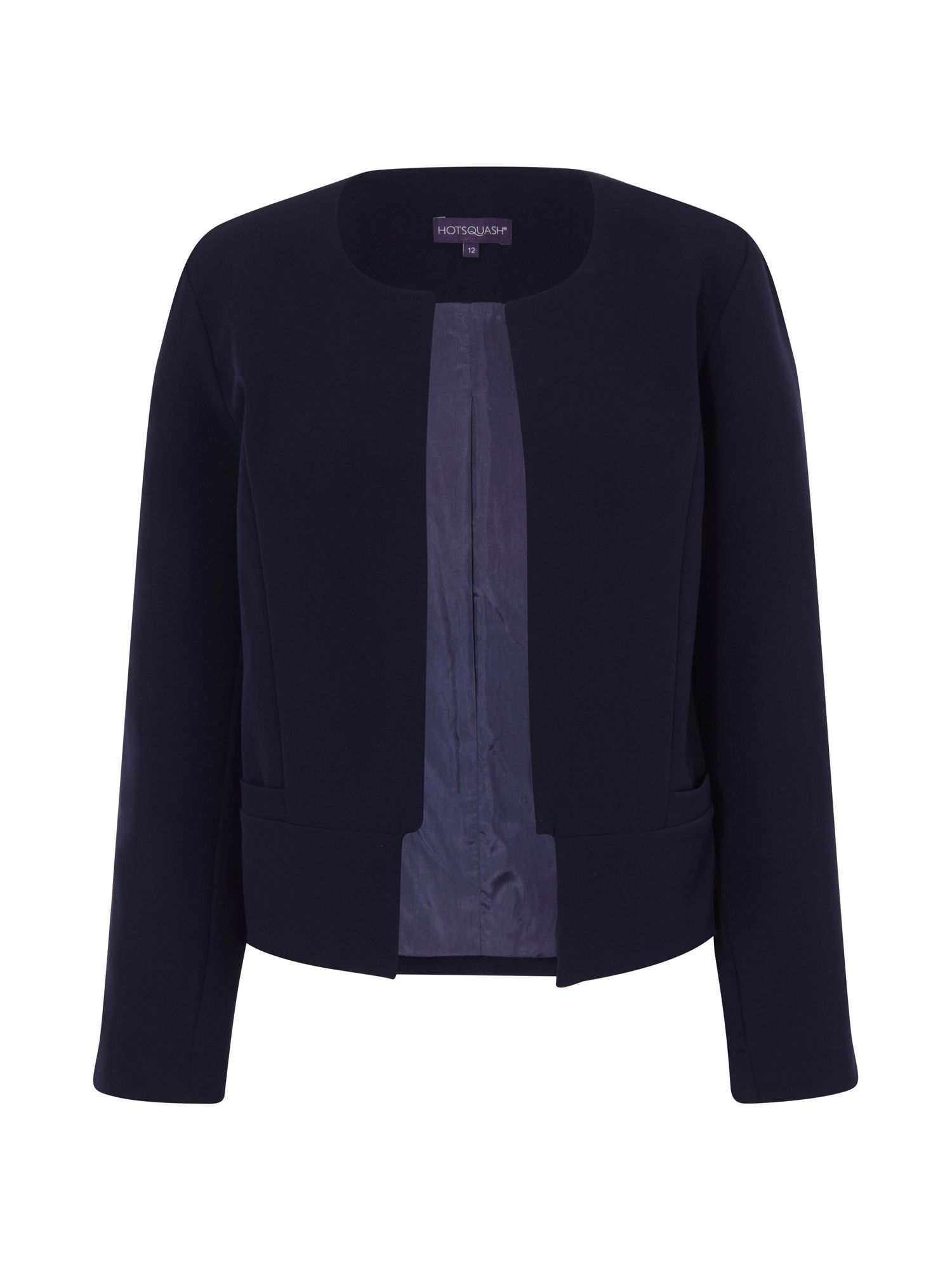 HotSquash Collarless Jacket in Clever Fabric, Blue