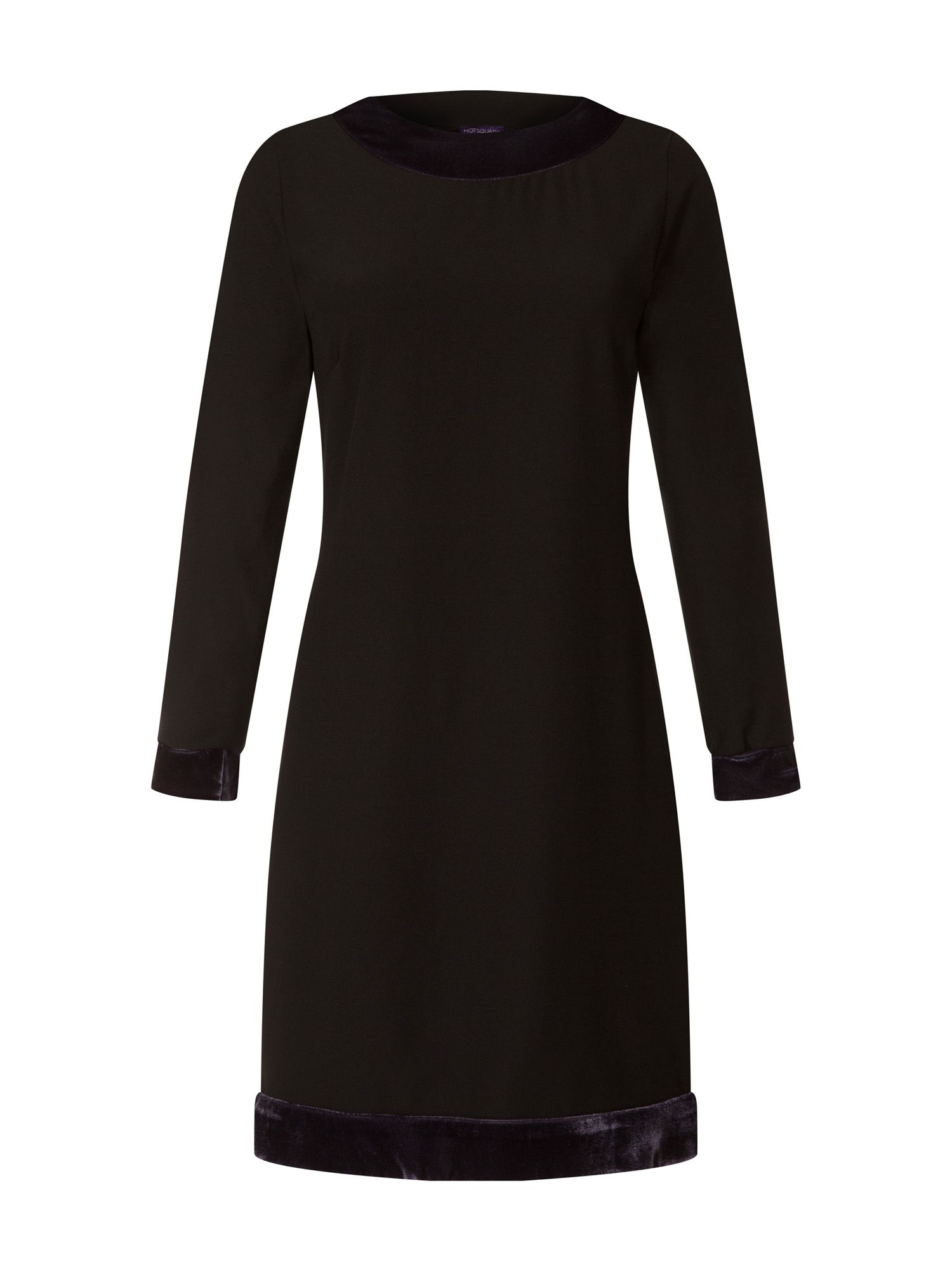 HotSquash Swing Dress with Velvet in Clever Fabric, Black