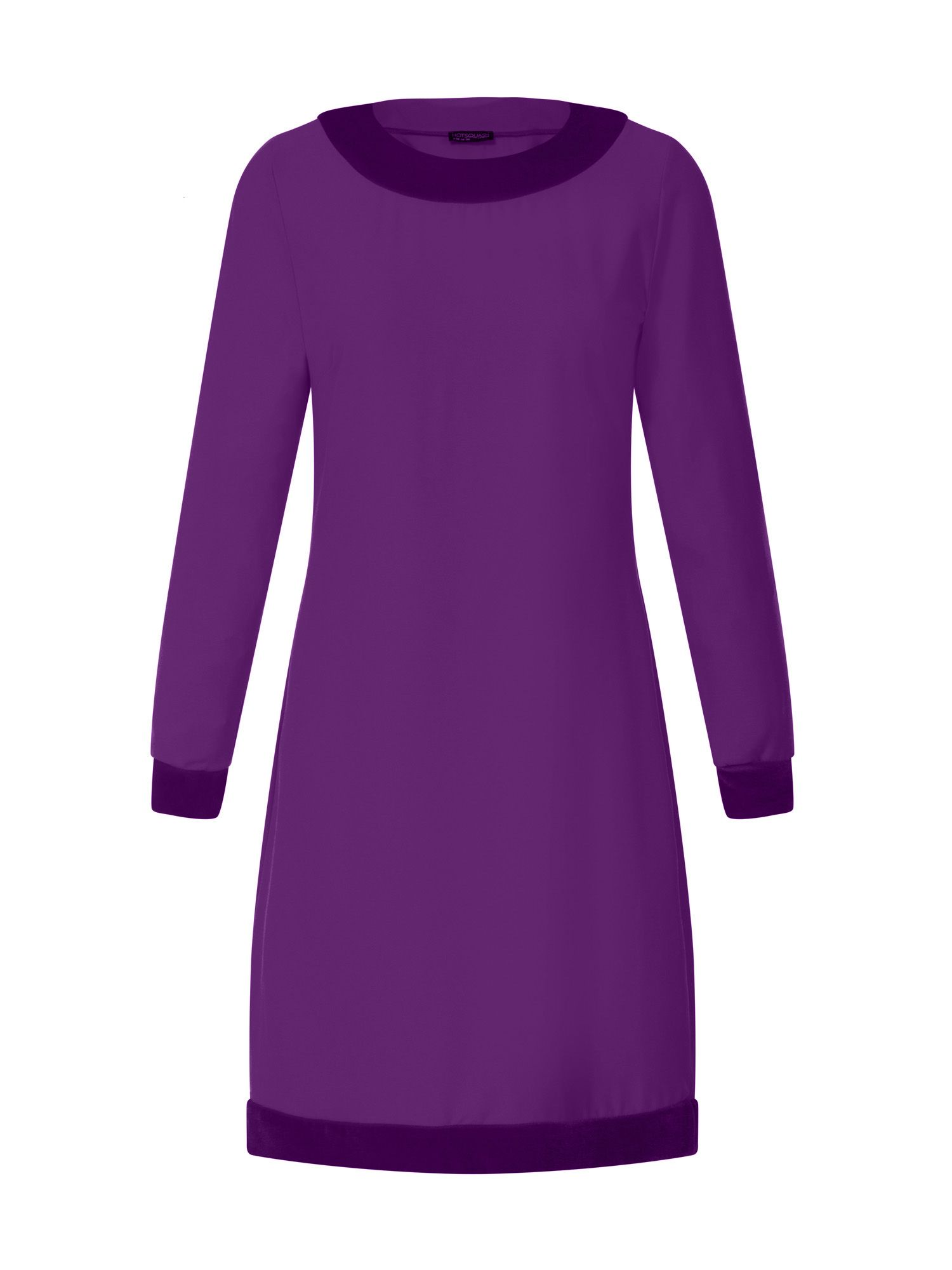 HotSquash Swing Dress with Velvet in Clever Fabric, Purple