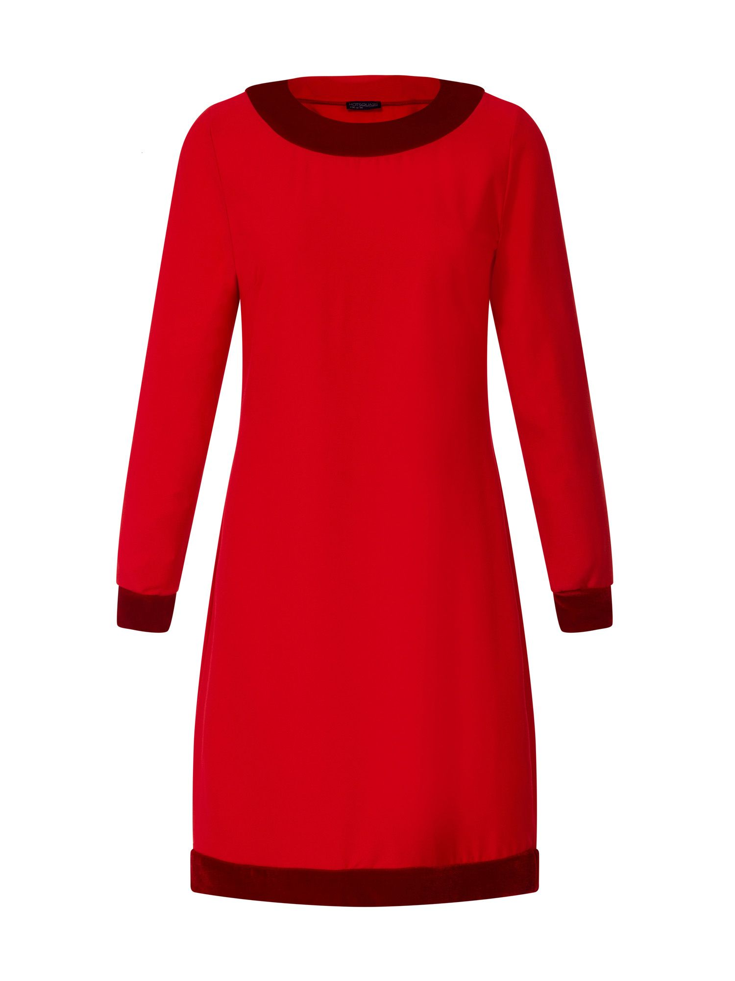 HotSquash Swing Dress with Velvet in Clever Fabric, Red