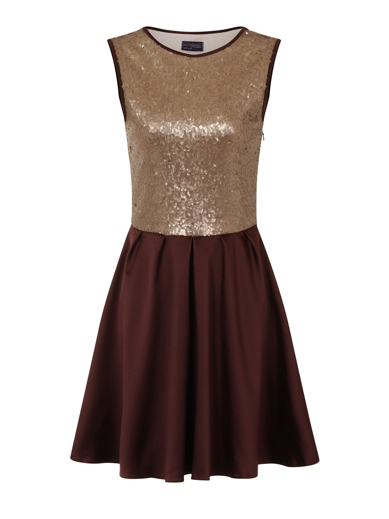 HotSquash Amber Sequin Party Dress, Clever Fabric, Chocolate