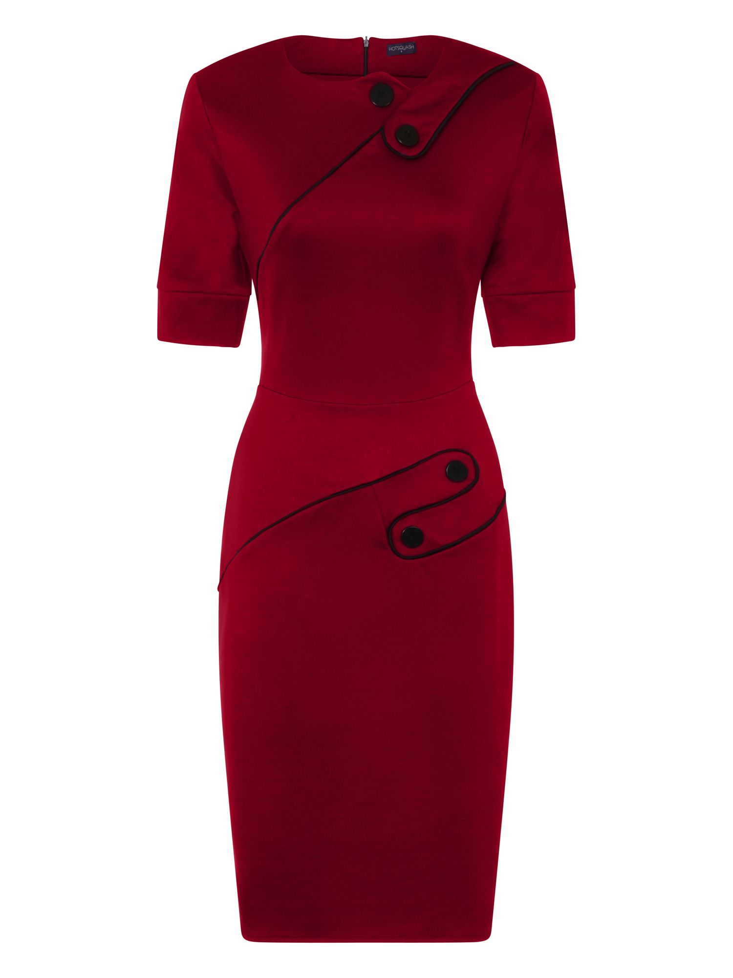 HotSquash Button Ponte Dress in Clever Fabric, Red
