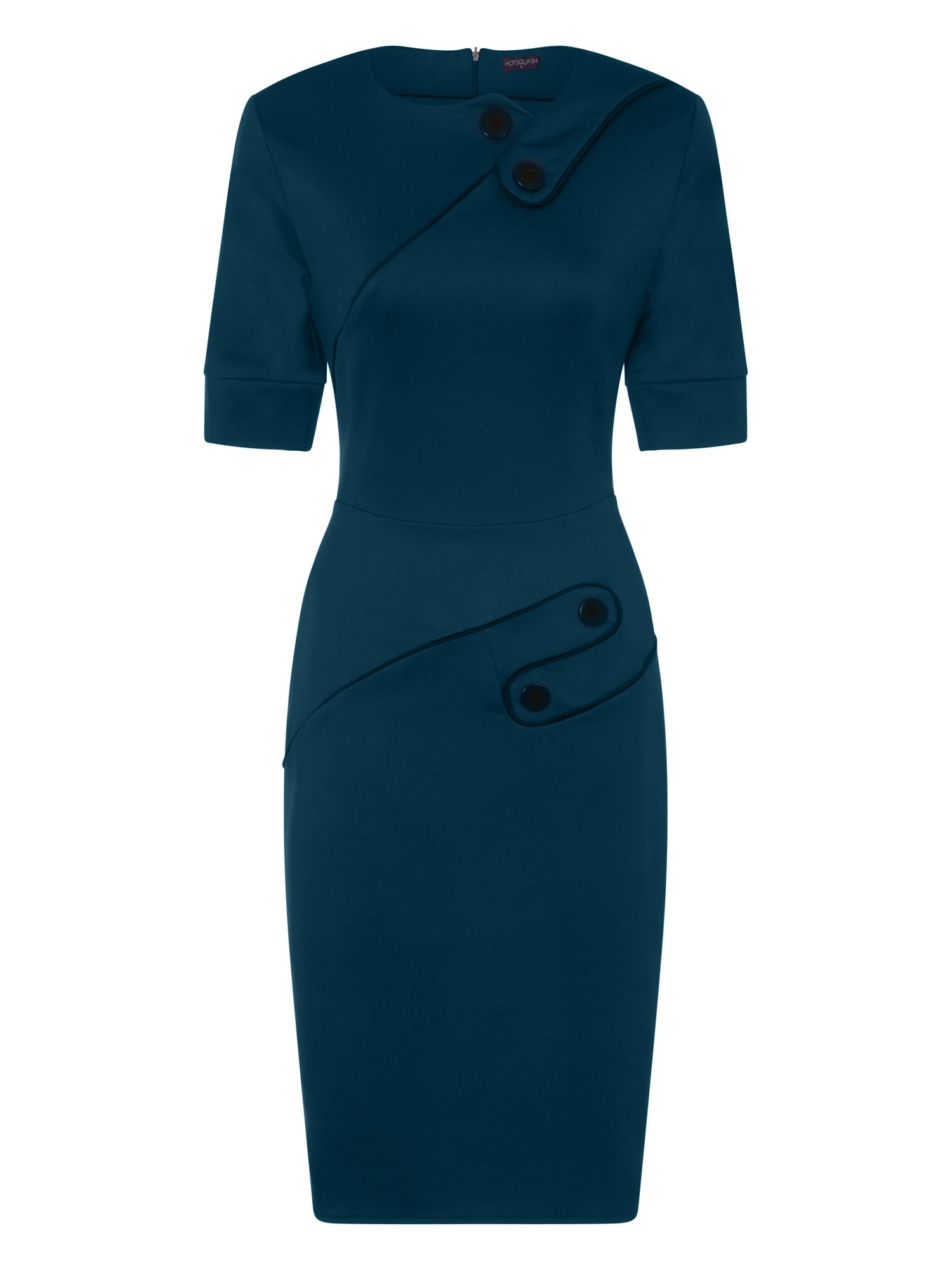 HotSquash Button Ponte Dress in Clever Fabric, Teal