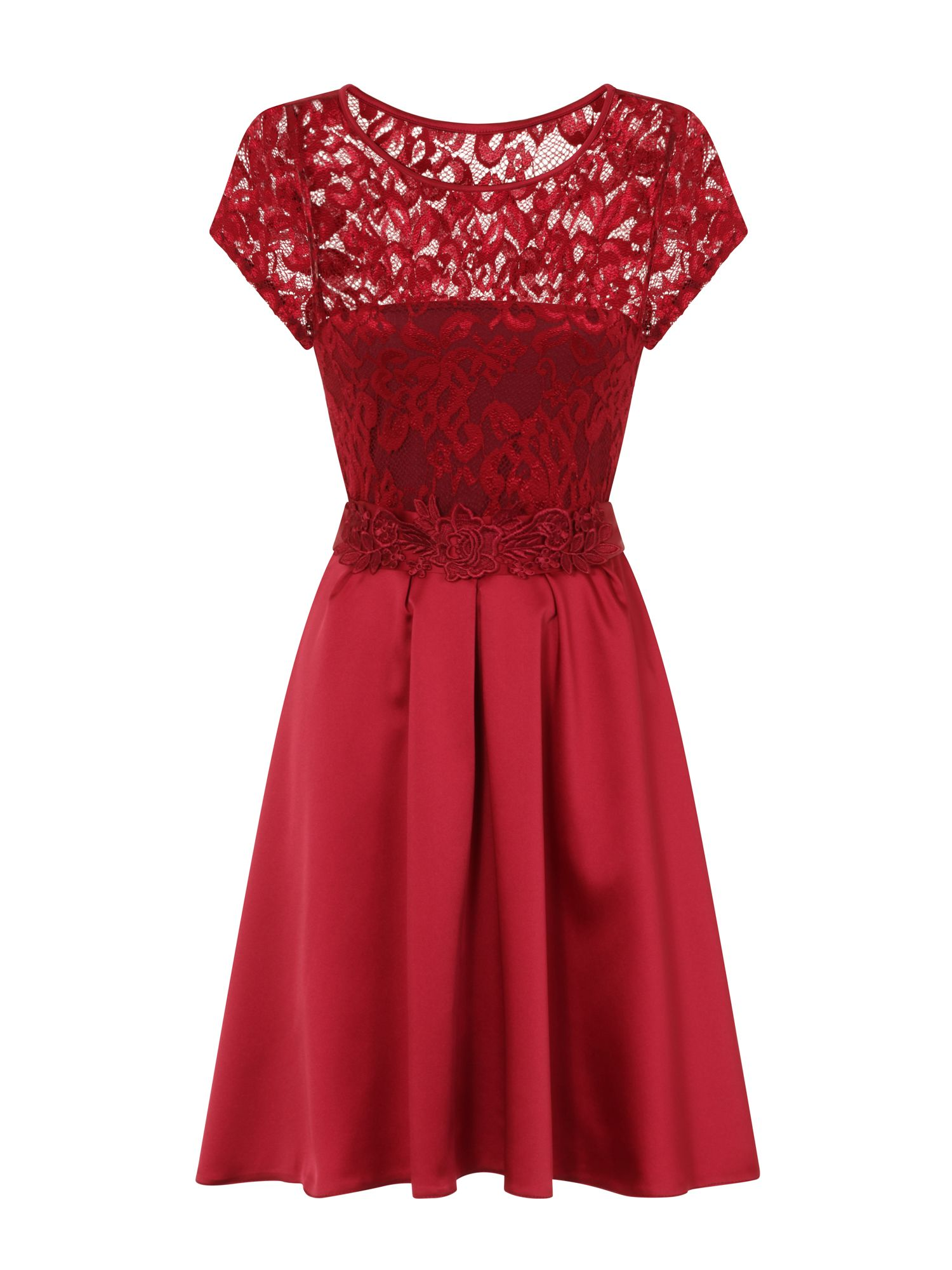 HotSquash Lace Ana Party Dress in Clever Fabric, Red