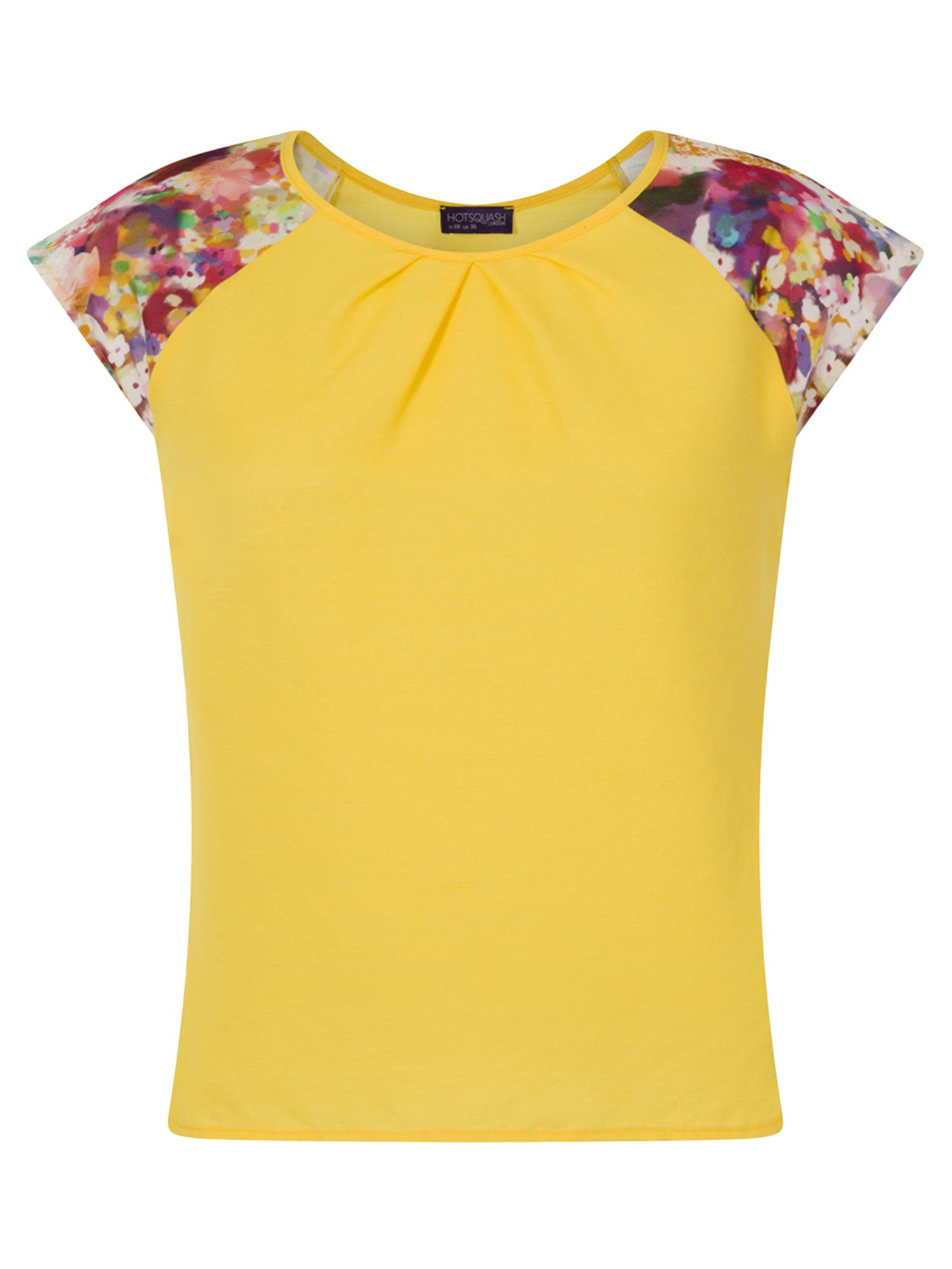 HotSquash Crepe Top With Floral Sleeve Detail, Yellow