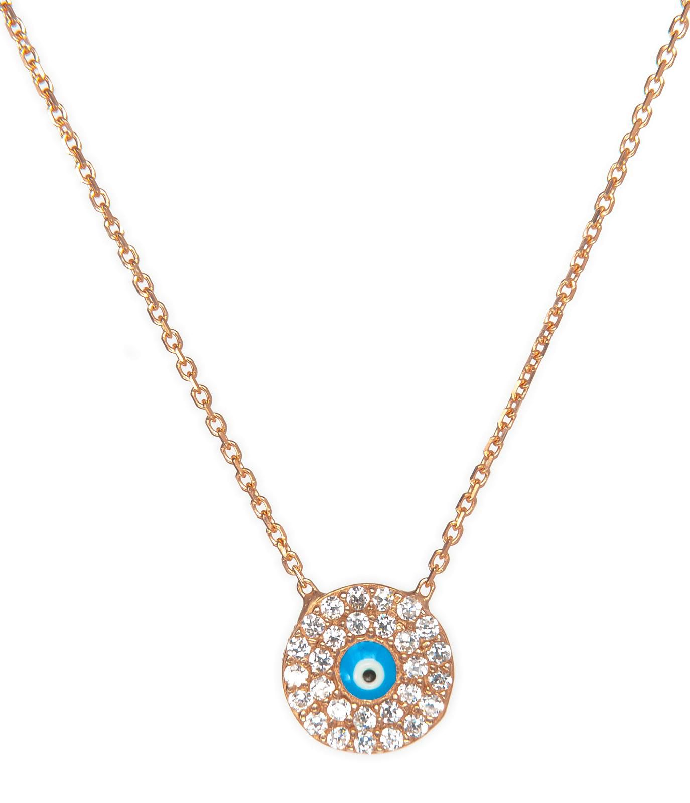 Round pave evil eye necklace