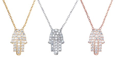 Lucky Eyes Jewelled hamsa hand necklace