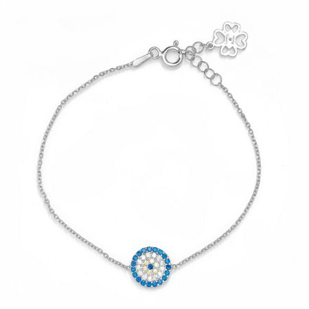 Lucky Eyes Silver med.evil eye bracelet