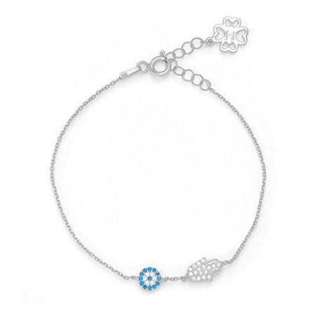 Lucky Eyes Silver mini hand&eye bracelet