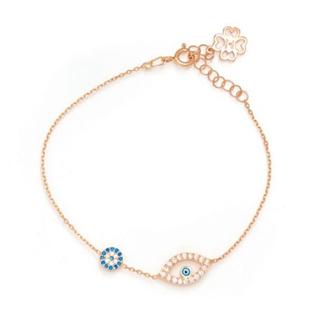 Lucky Eyes Rose double evil eye bracelet