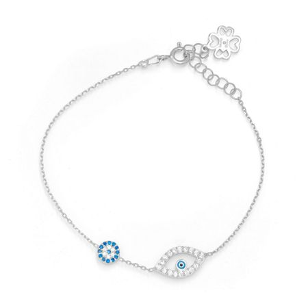 Lucky Eyes Silver duo evil eye bracelet