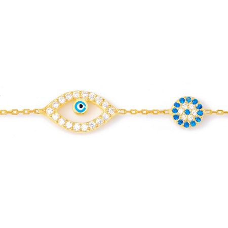 Lucky Eyes Gold double evil eye bracelet