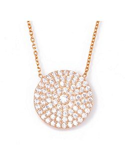 Rose large pave disc necklace