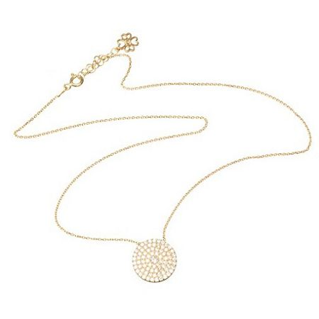 Lucky Eyes Rose large pave disc necklace