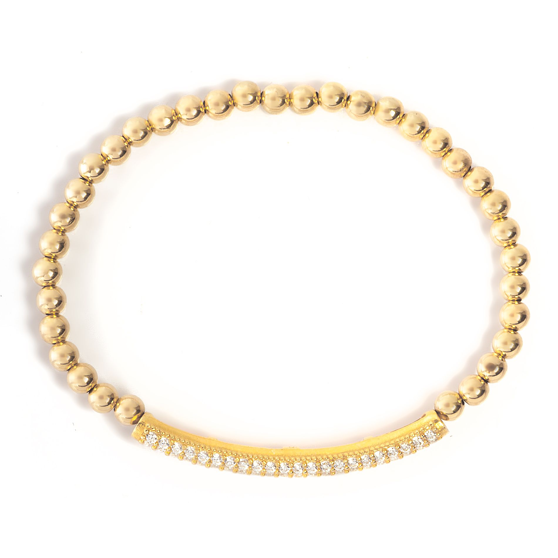 Gold filled beaded bracelet with crystal bar