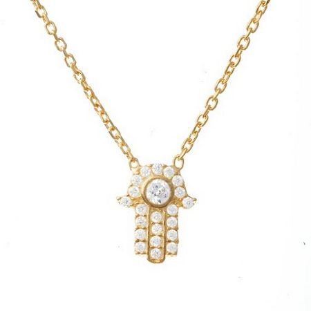 Lucky Eyes Gold crystal hand necklace