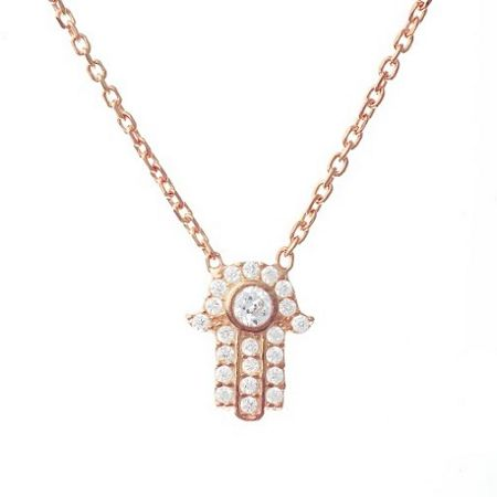 Lucky Eyes Rose crystal hand necklace