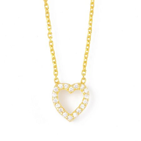 Lucky Eyes Gold frame heart necklace