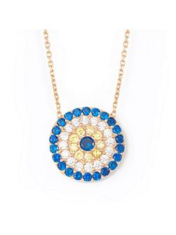 Rose large evil eye necklace