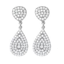 White Gold Vermeil Double Pave Earrings