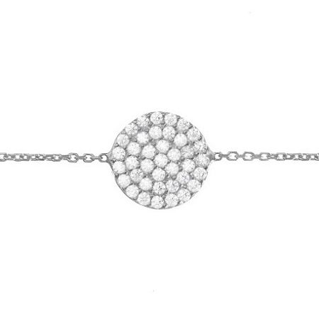 Lucky Eyes White Gold Vermeil Pave Disc Bracelet