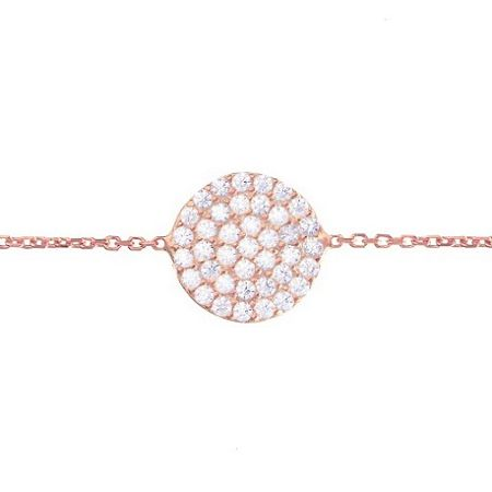 Lucky Eyes Rose Gold Vermeil Pave Disc Bracelet