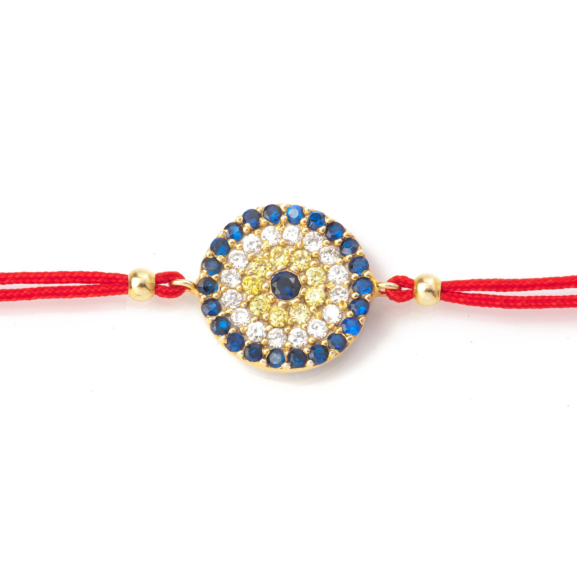 Red cord bracelet with classic evil eye