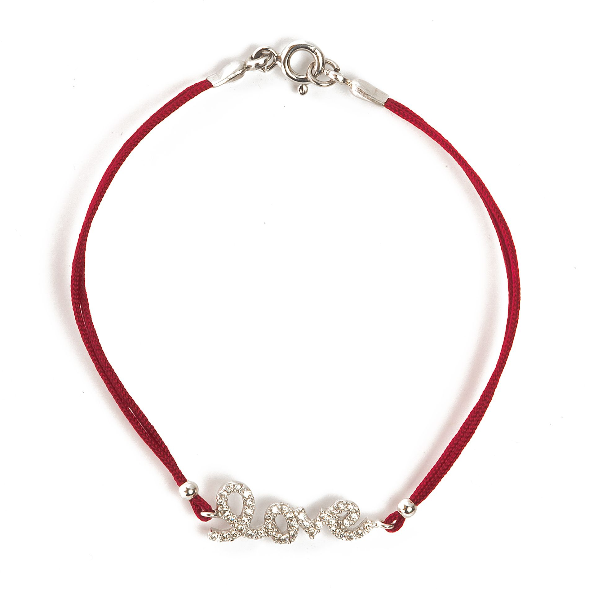 Burgundy cord bracelet with love script