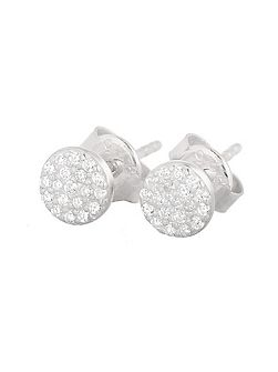 Mini Pave Disk Stud Earrings
