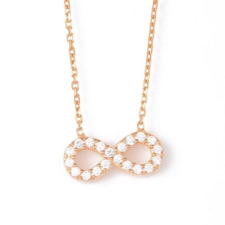 Lucky Eyes Infinity Necklace in Rose Gold Vermeil