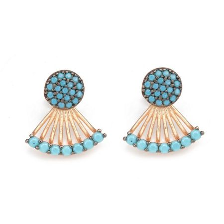 Lucky Eyes Turquoise Jacket Earrings