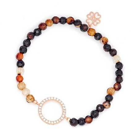 Lucky Eyes Brown agate beaded bracelet