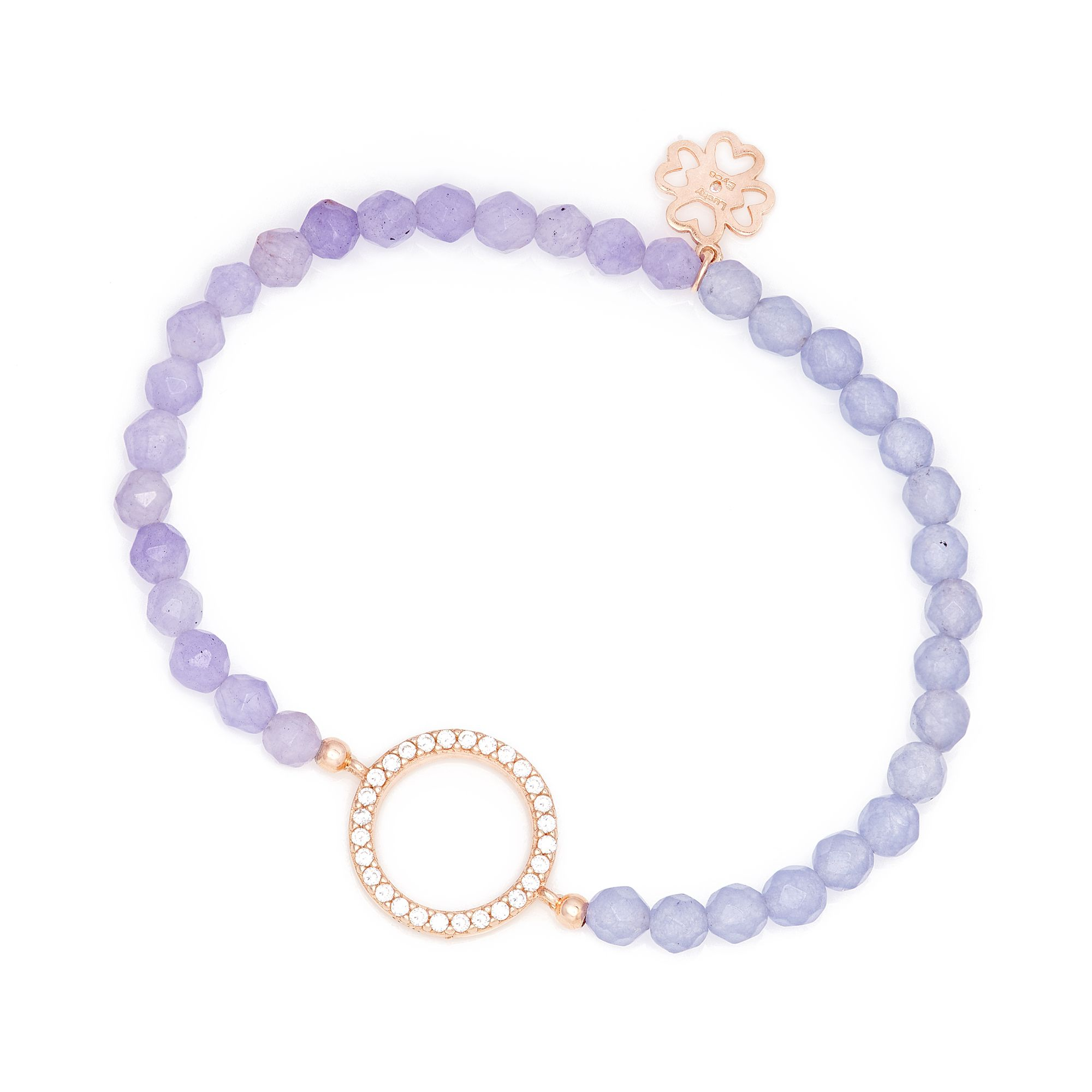 lucky eyes amethyst beaded bracelet