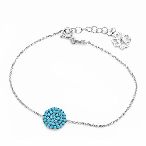 lucky eyes turquoise pave disc bracelet