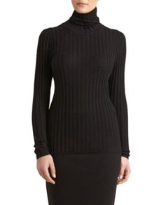 Winser London Polo Neck Rib Jumper
