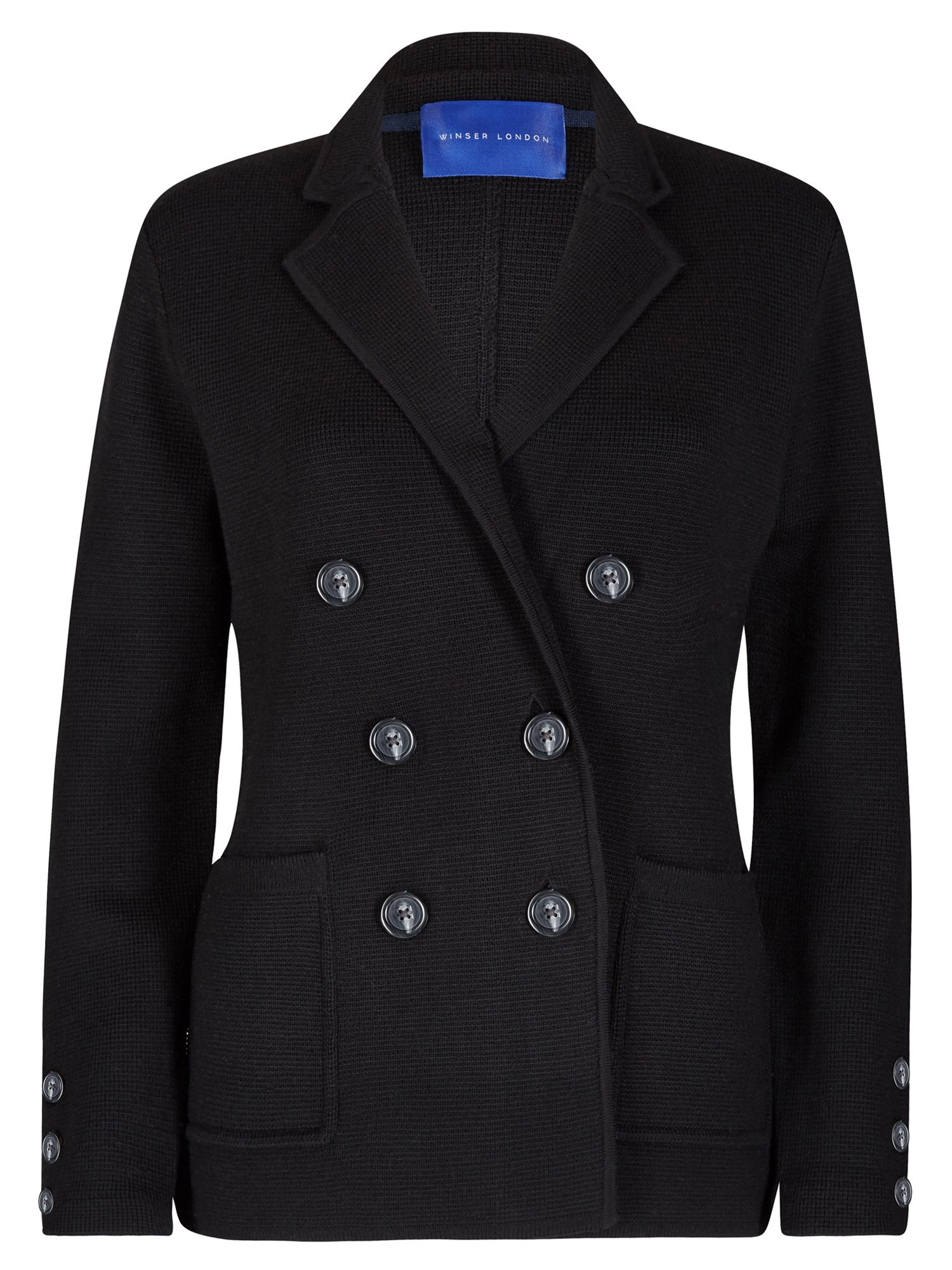 Winser London Milano Wool Db Blazer, Black